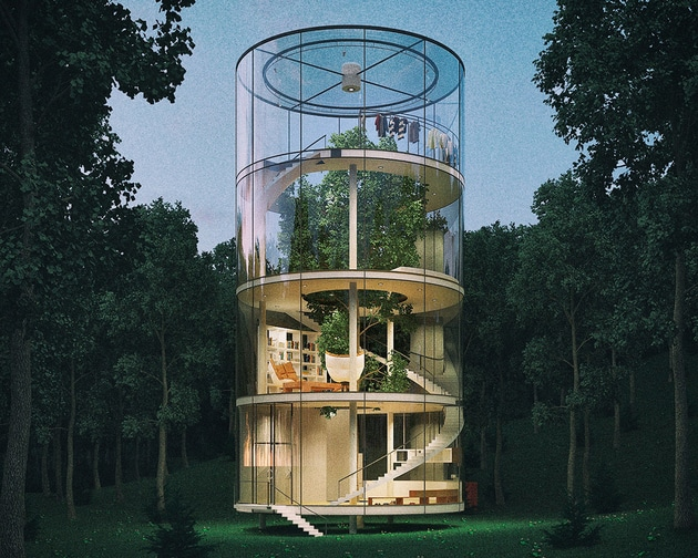 Tubular Glass House Kazakh Aibek Almassov