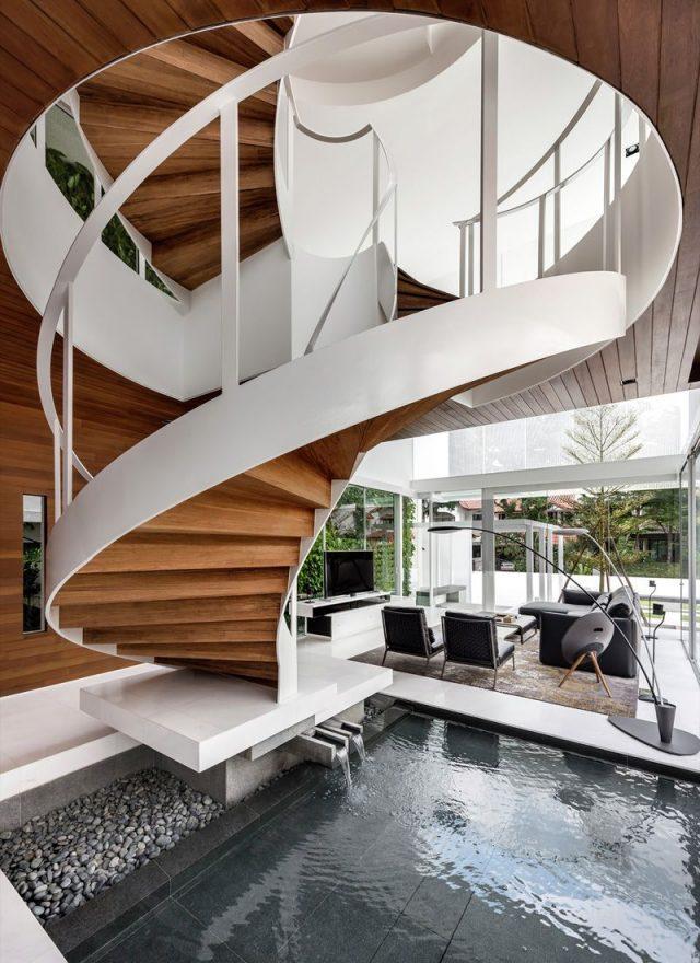 Un escalier en colimaçon imaginé par Park + Associates