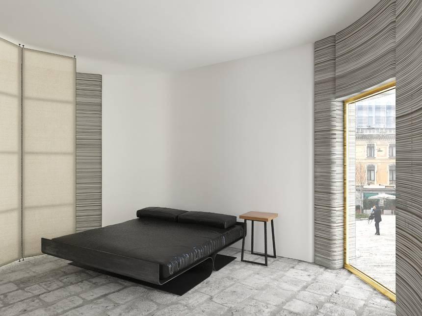 Une maison imprimée en 3D exposée lors du salon du design de Milan